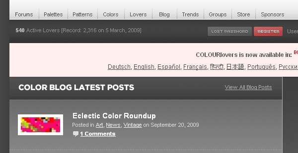 Color Lovers website