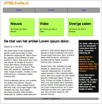 De definitieve versie van de website in HTML5 en CSS3
