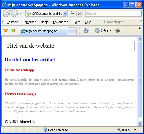 Pagina in Internet Explorer