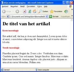 de eerste website met een css bestand