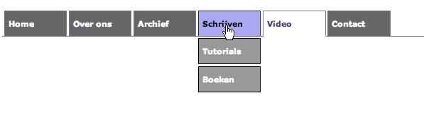 Resultaat van uitklap menu gemaakt met CSS