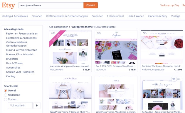 Etsy met WordPress themes