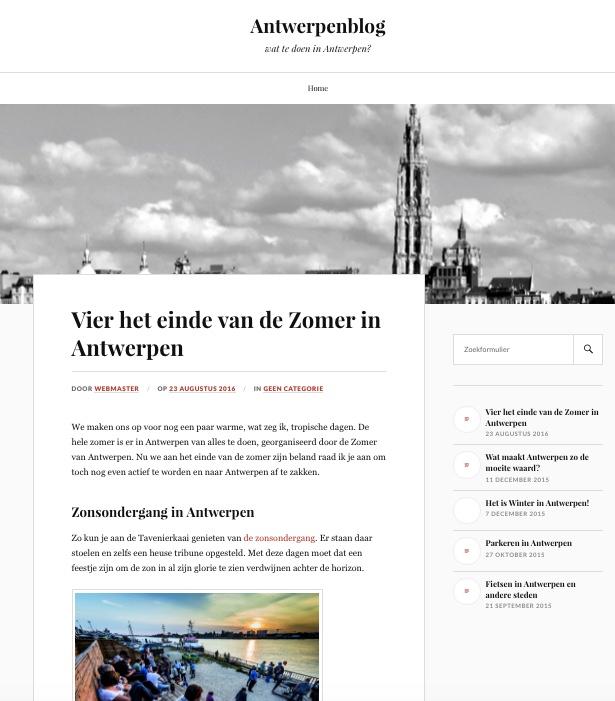 Screenshot van antwerpenblog, een niche blog