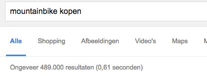 een mountainbike kopen, wat is het resultaat in Google?