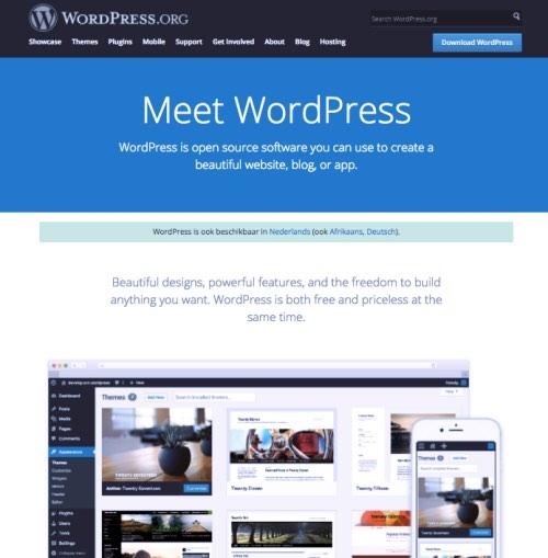 WordPress.org, de website waar je WordPress kunt downloaden