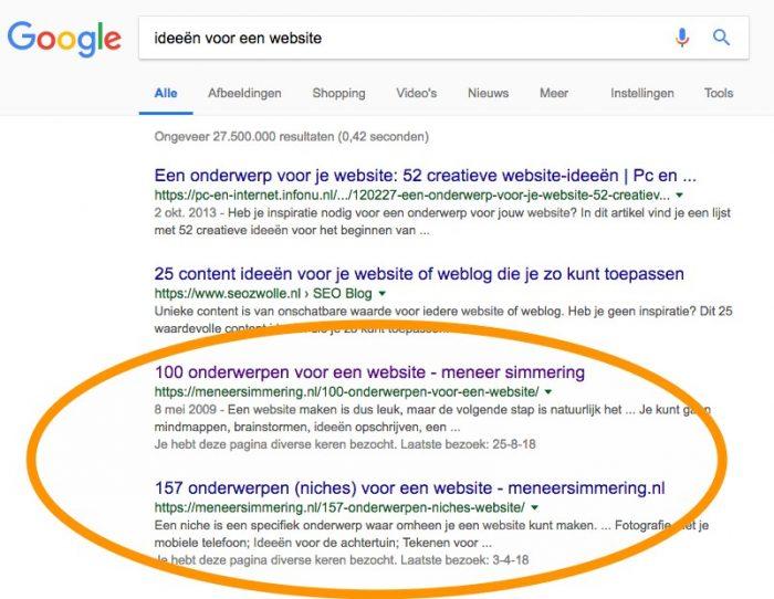 Ideeën voor een website, zoekopdracht in Google