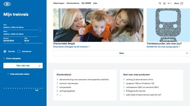 Website Belgische spoorwegen, NMBS