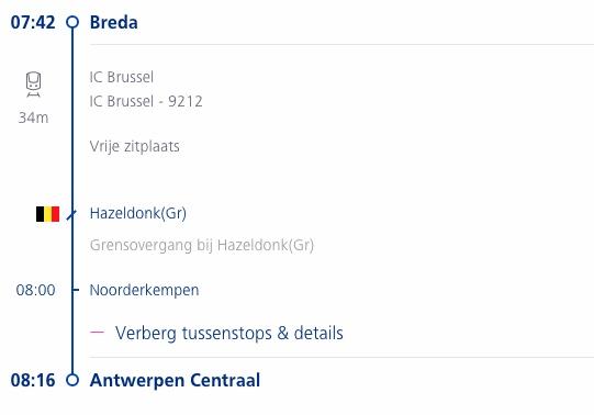 Treinroute Breda Antwerpen per Intercity direct