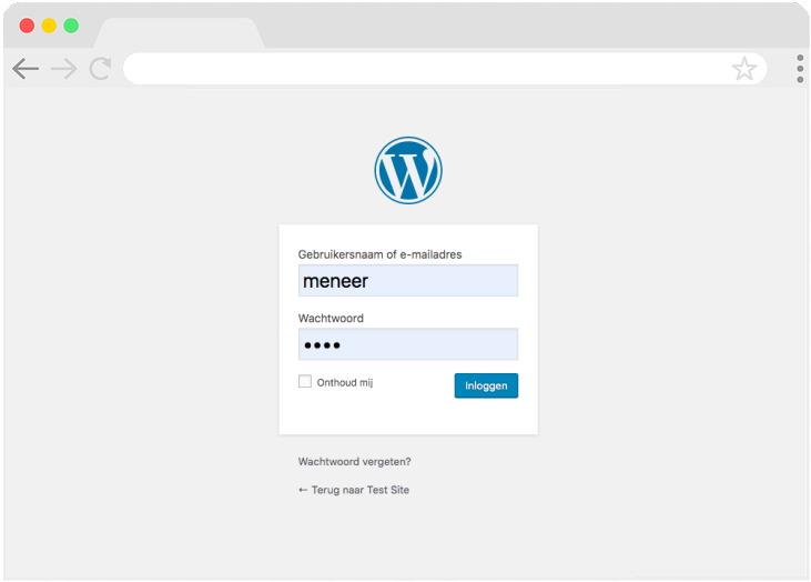 Nu kun je inloggen bij je website, achter de schermen