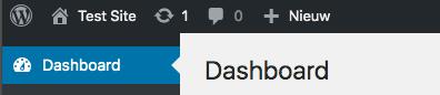 Menu bovenaan in WordPress dashboard