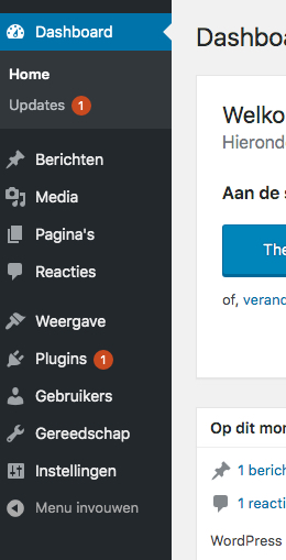 menu links in het WordPress dashboard