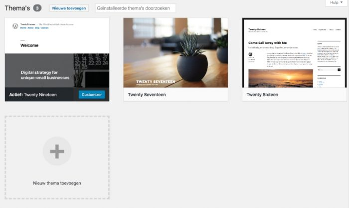 Thema's in WordPress. Standaard komen er wat thema's mee met installeren