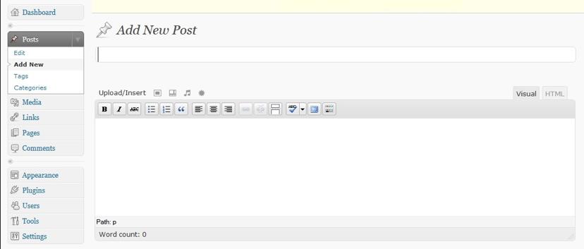 Het dashboard van WordPress versie 2.7