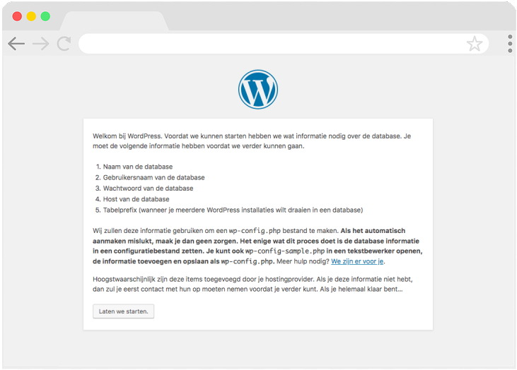 stap 1 WordPress installeren