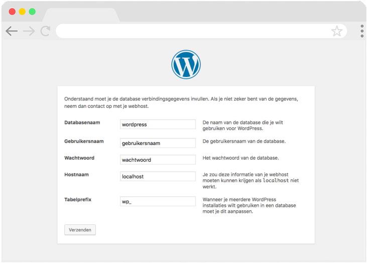 Stap 2 Invullen gegevens voor WordPress