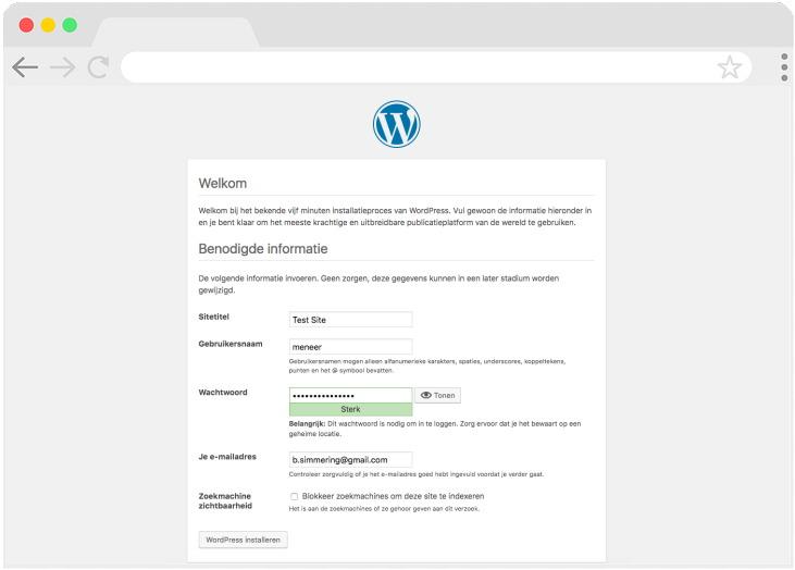 WordPress wil je gebruikersnaam en dergelijke weten