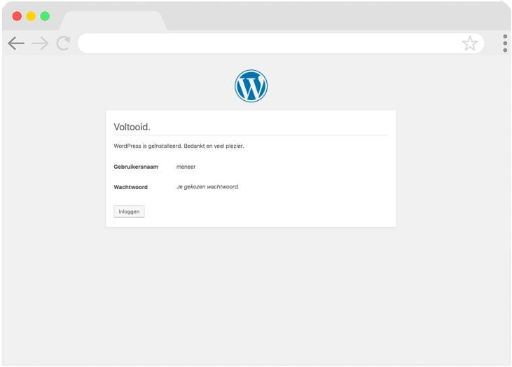 Het installeren van WordPress is voltooid. Je hebt een website!