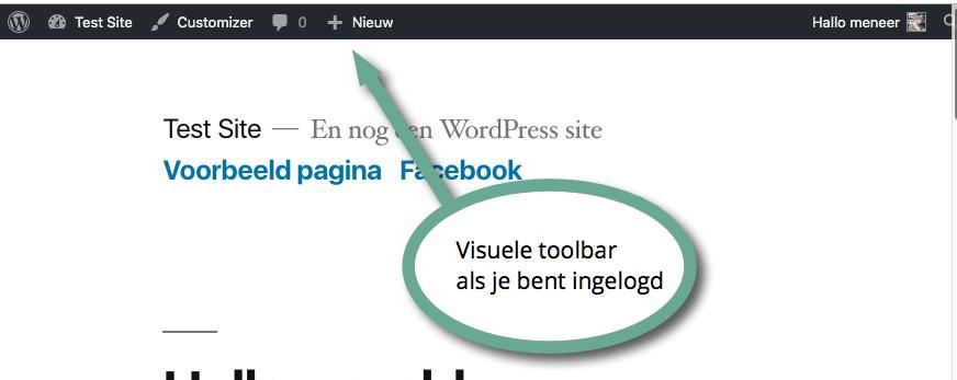 visuele toolbar als je bent ingelogd