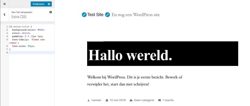De CSS is toegevoegd aan het tekstvak en wordt meteen weergegeven in het voorbeeld.