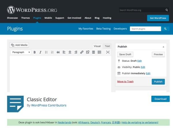 klassieke editor WordPress