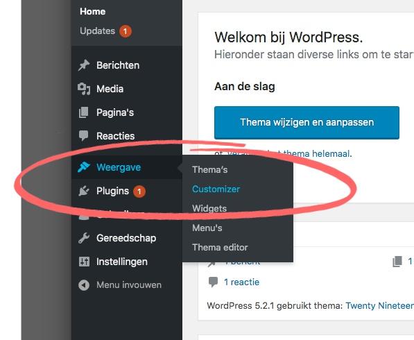 Vanuit het Dashboard naar de Customizer in WordPress