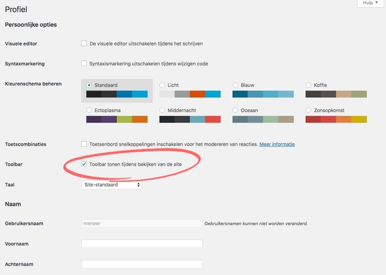 de profielpagina waar je de toolbar uit kunt zetten en meer aanpassingen kunt doen