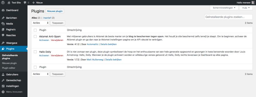 Standaard geïnstalleerde plugins in WordPress