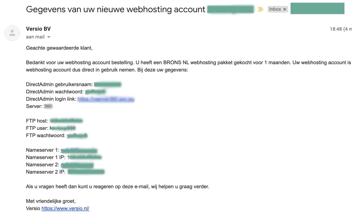10 - gegevens in de mail