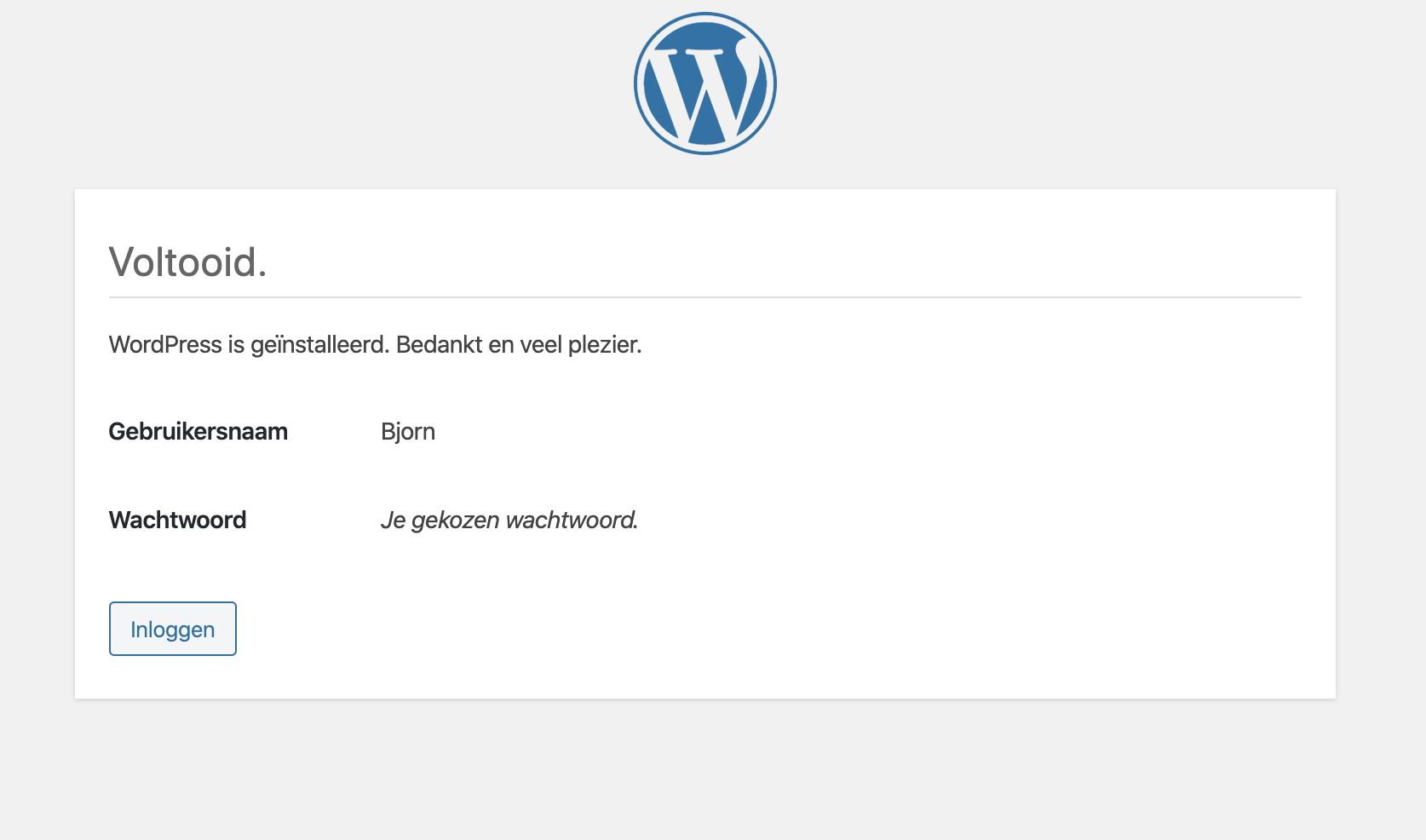 WordPress staat nu op je computer!