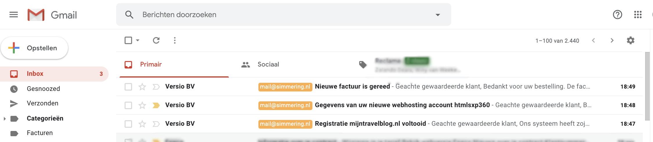 9 - mails met gegevens