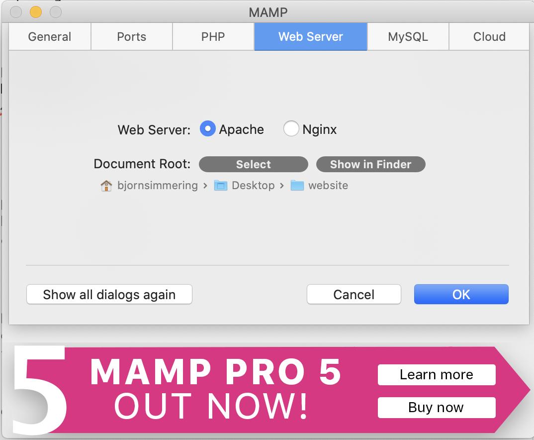 root map MAMP